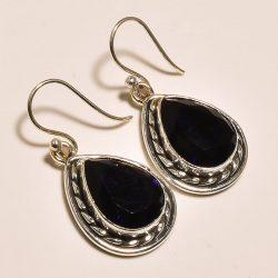 """Gyönyörű sötétkék SAPPHIRE GEMSTONE 0,925 ezüst ékszer-  fülbevaló 1.50 """""""