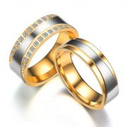 18K Gold Plated CZ rozsdamentes acél gyűrű férfi/női esküvő