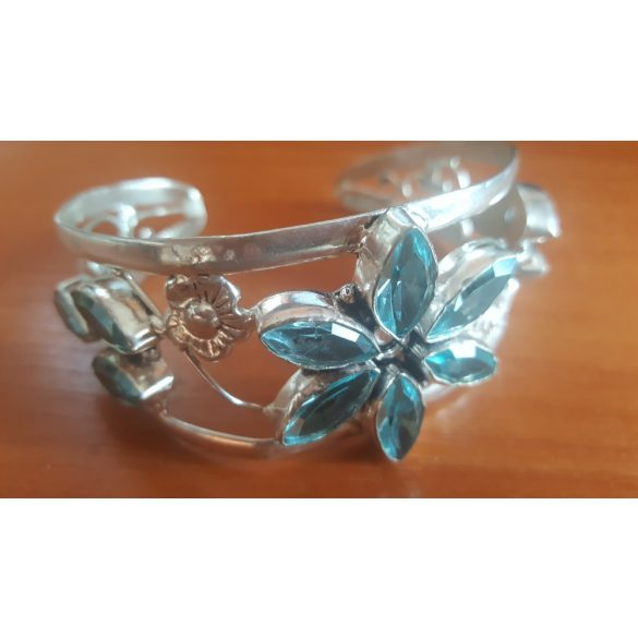 """Kék Topaz Gemstone. 925 ezüst ékszer, állítható karkötő 7-9 """""""