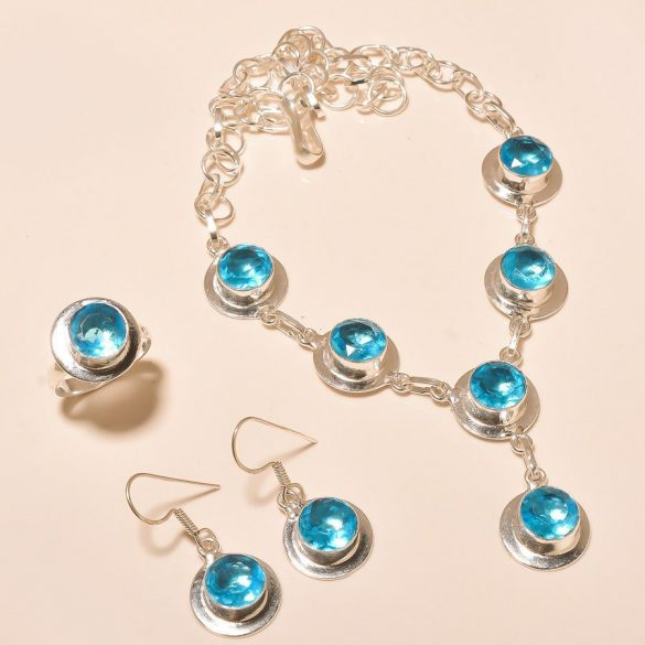 """SWISS kék Topáz 925 ezüst szett:  nyaklánc 18 """" + gyűrű + fülbevaló"""