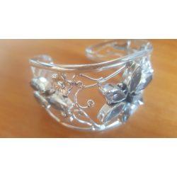 Fehér Topaz Gemstone. 925 ezüst karkötő állítható