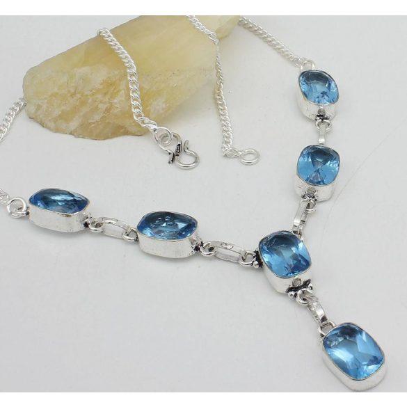 "Blue Topaz 925 Ezüst Férfi Ajándék Gemstone nyaklánc 18 """