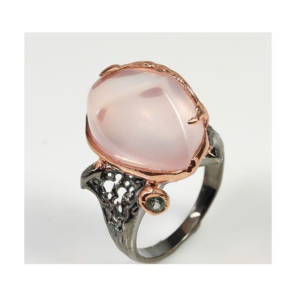 Natural Rose Quartz 925 Ezüst Gyűrű mérete 9,5