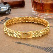 """Női 24 K aranyozott (Gold Filled) karkötő """"W"""" mintás karlánc, Bangle divatékszer"""