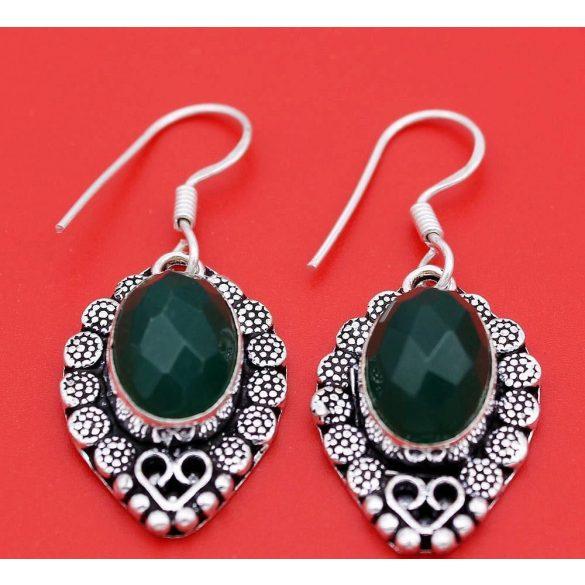 """925 Ezüst Elegáns zöld Emerald Női Szett:  fülbevaló + nyaklánc 18 """""""
