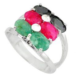 Természetes vörös Ruby Emerald Sapphire 925 Sterling Ezüst Gyűrű . Méret: 8